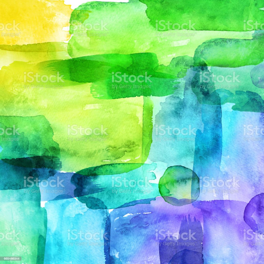 Abstract Watercolor Shapes Hand Painted Brush Strokes Spectrum Ombre