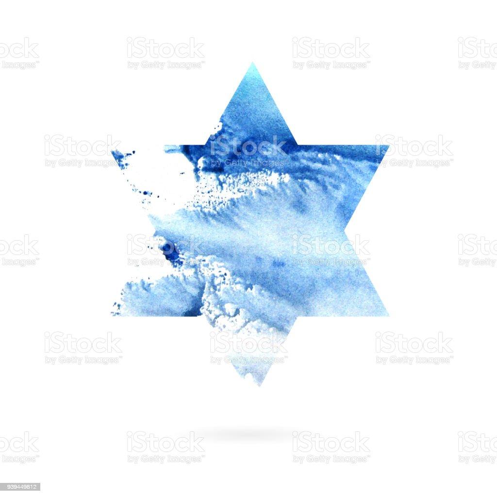 Soyut Suluboya Altı Köşeli Mavi Yıldız Stok Vektör Sanatı 6 Rakamı