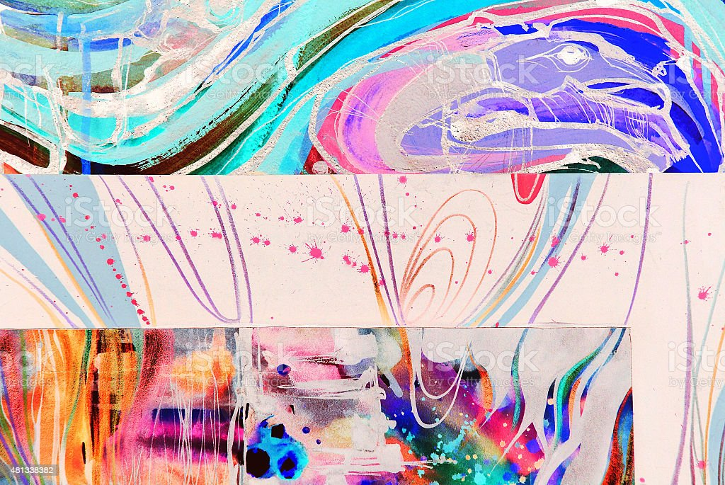 Abstract watercolor texture. Colorful streaks vector art illustration