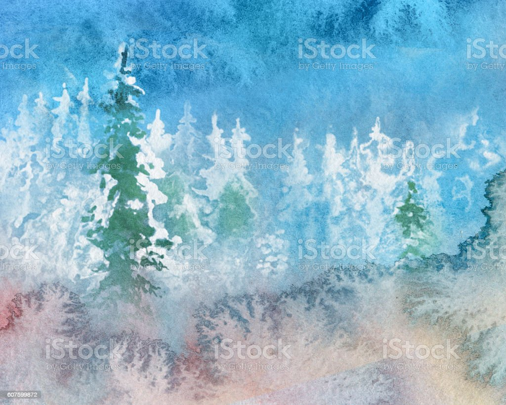 abstract watercolor winter landscape vector art illustration