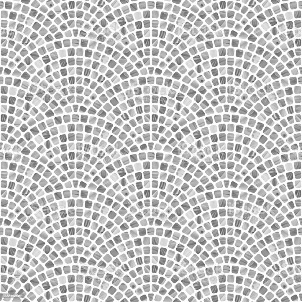 Abstract wavy seamless geometrical pattern from small spotted squares with gray watercolor texture on a white background. Floor tile, wallpaper, wrapping paper, page fill in Mediterranean ceramic mosaic style vector art illustration