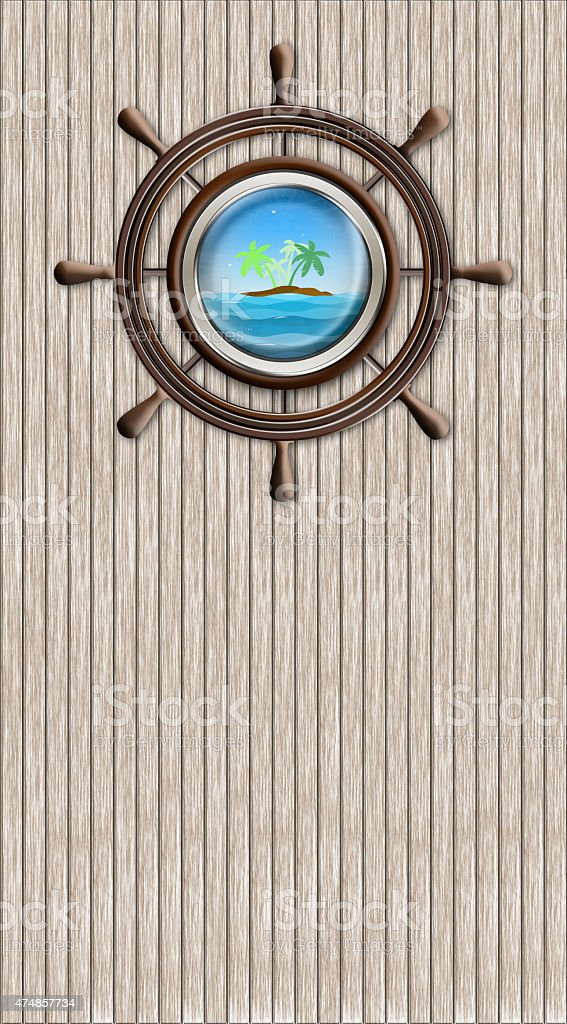 Abstract wheel and window overlooking the palm-tree island and s vector art illustration