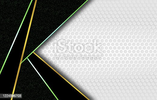 926309126 istock photo Abstract white and black corporate background with decorative gold and green bands, marble slabs and holes. 1224596703