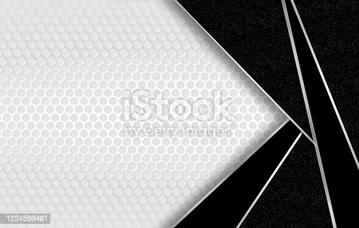 926309126 istock photo Abstract white and black corporate background with decorative gold and green bands, marble slabs and holes. 1224599461