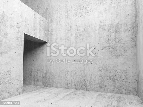 Abstract white concrete empty room interior background, walls and door, 3d render illustration