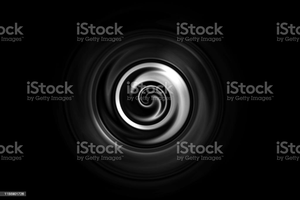 Abstract White Vortex Or Water Ring On Black Background Stock