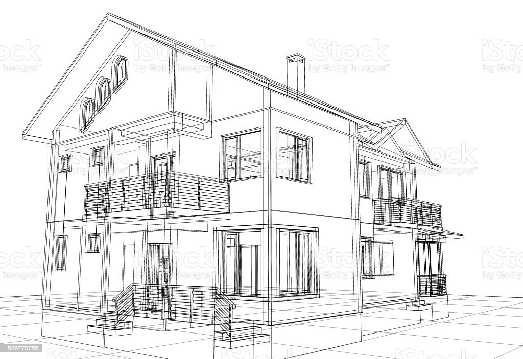 Abstract Wireframe Construction House Architecture ...