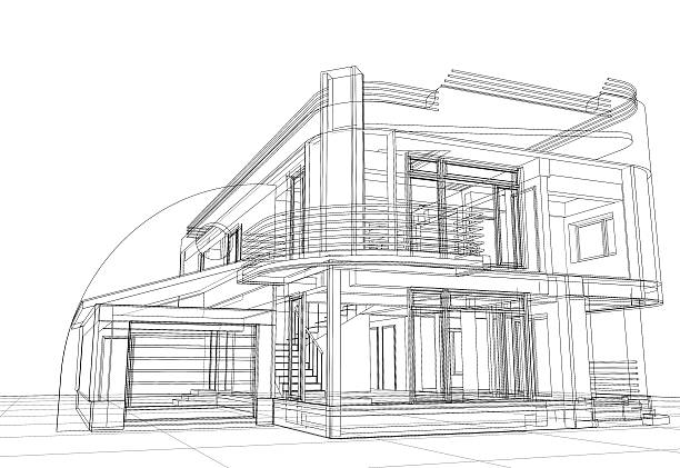 Abstract wire-frame construction house architecture vector art illustration