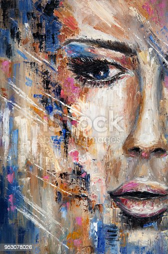 Abstract painting of a woman face  on canvas.Modern Impressionism, modernism,marinism