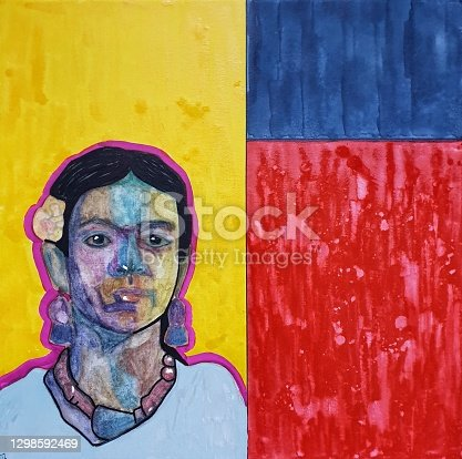 istock Abstract woman's oil portrait 1298592469