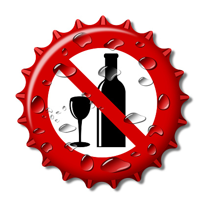 Abstrct Bottle Cap like sign ban alcohol