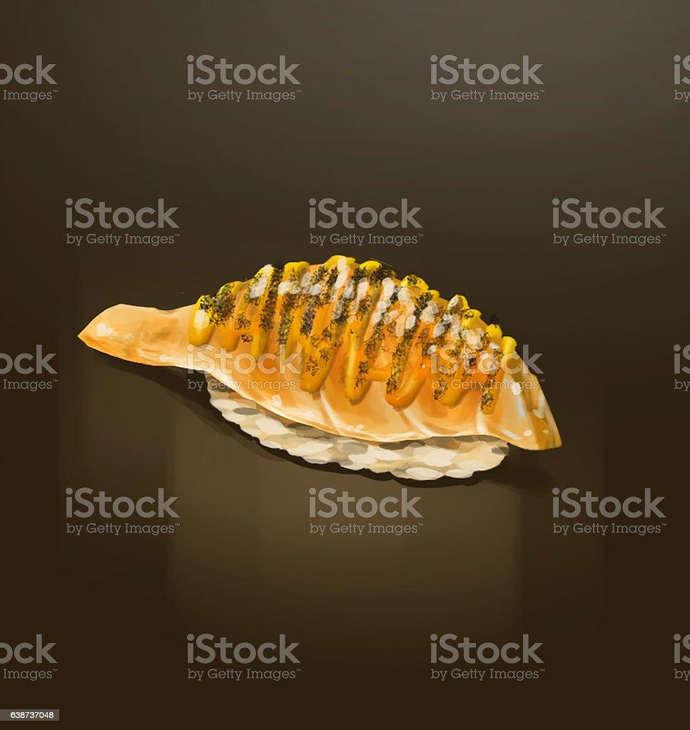 Aburi Salmon seared cheese and mayo sushi nigiri illustration vector art illustration