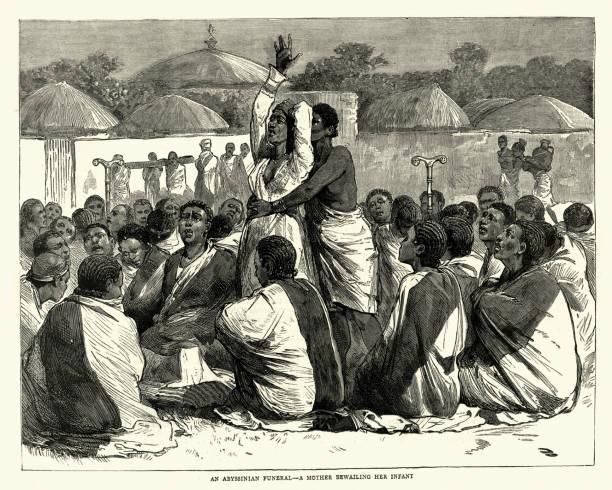 stockillustraties, clipart, cartoons en iconen met ethiopische begrafenis, moeder beweent haar kind, 19de eeuw - funeral crying