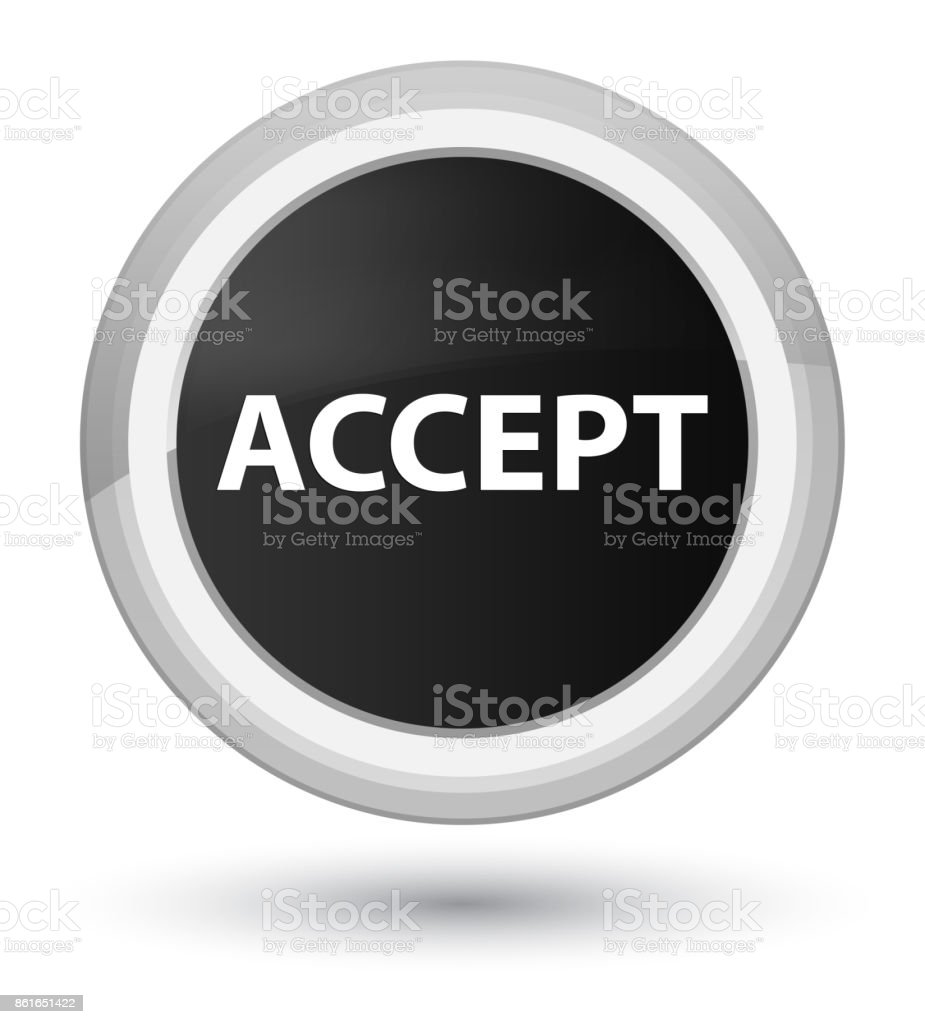 Accept prime black round button vector art illustration