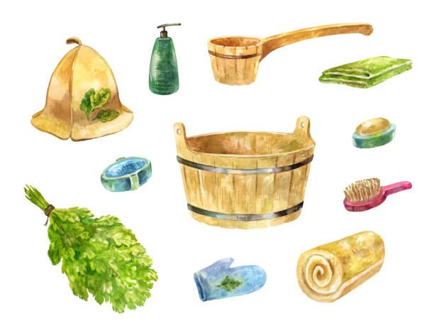stockillustraties, clipart, cartoons en iconen met accessoires voor badhuis. aquarel set eiken bezem, bekken, handdoek, pollepel, zeep en andere objecten voor douche - sauna