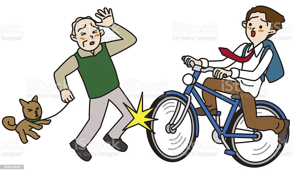 Accident of the bicycling, youth, elderly person vector art illustration