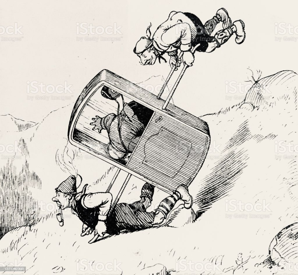 Accident With A Sedan Chair In The Mountains Stock Illustration Download Image Now Istock
