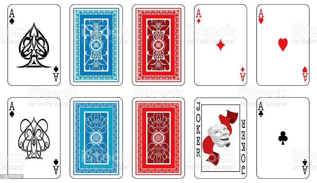 Aces, joker and playing card backs vector art illustration