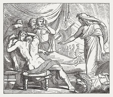 Achilles, at the bier of his friend Patroclus, Greek mythology