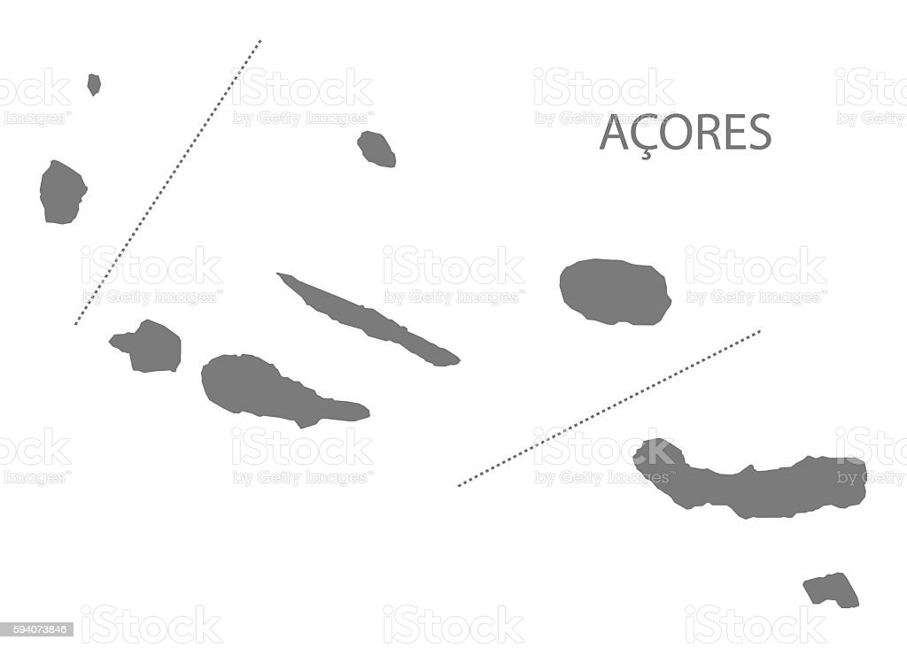 Acores Portugal Map Grey Stock Vector Art IStock - Portugal map islands
