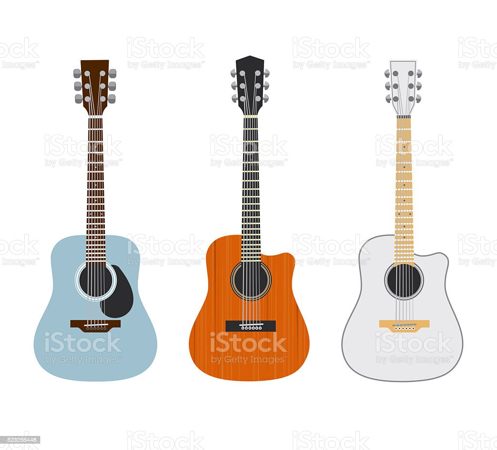 Acoustic guitars isolated on white vector art illustration