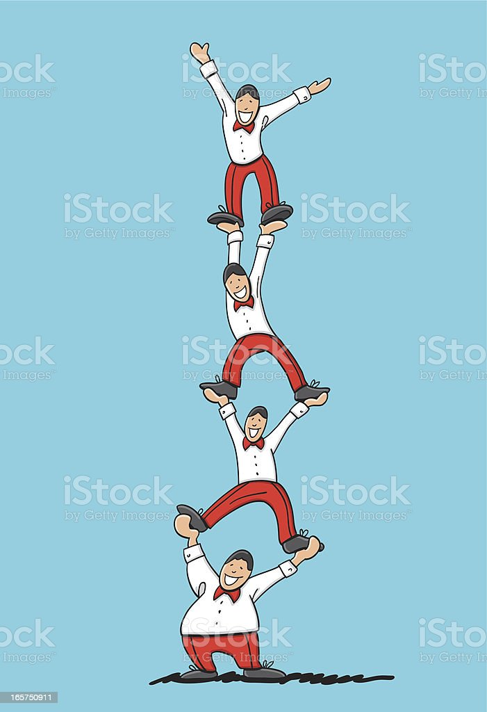 Acrobatic Human Pyramid Stock Illustration - Download Image Now - iStock