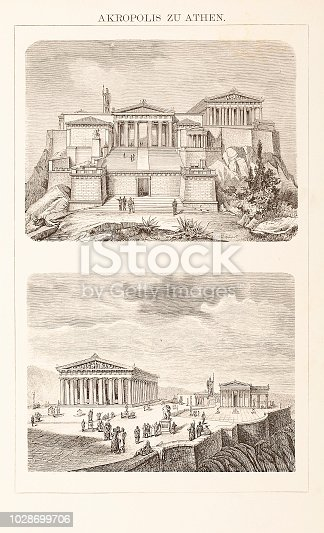 Engraving Acropolis Athens illustrations of reconstruction Original edition from my own archives Source : Unser Jahrhundert 1882