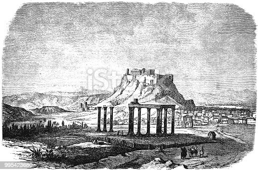 Illustration of a Acropolis in Athens