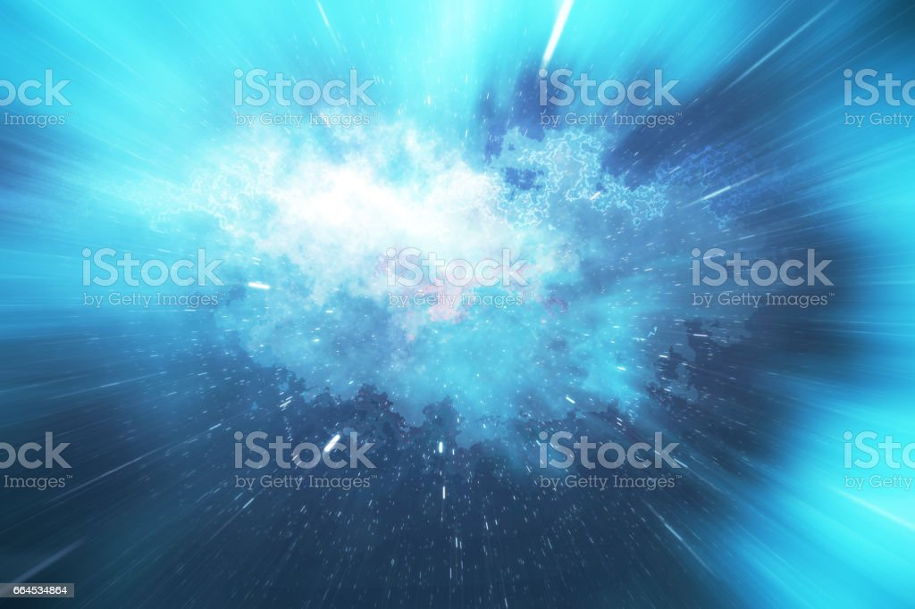 Across the universe. Traveling in space. Time travel. Scene of overcoming the temporary space in cosmos. 3d rendering vector art illustration