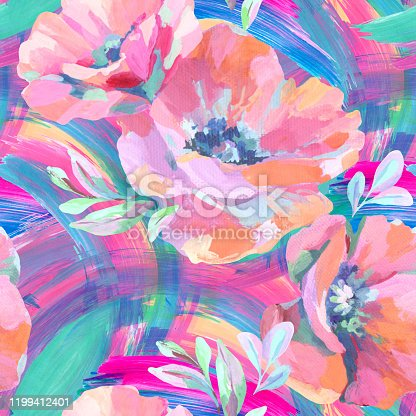 istock Acrylic flowers, leaves, paint smears seamless pattern. 1199412401
