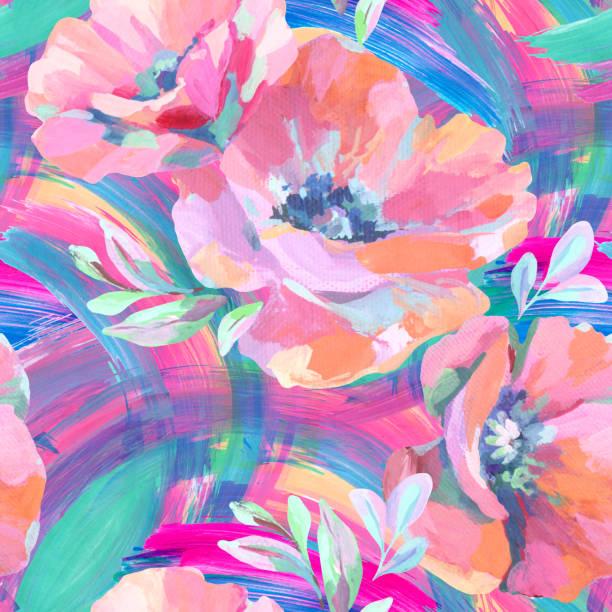 ilustrações, clipart, desenhos animados e ícones de flores acrílicas, folhas, manchas de tinta padrão sem costura. - papoula planta