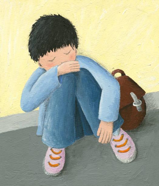 acrylic illustration of abandoned little boy - child abuse stock illustrations