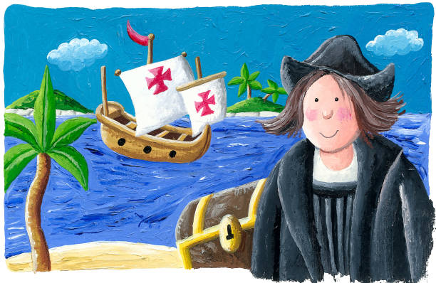 acrylic illustration of christopher columbus in the new world, 1492 - columbus day stock illustrations
