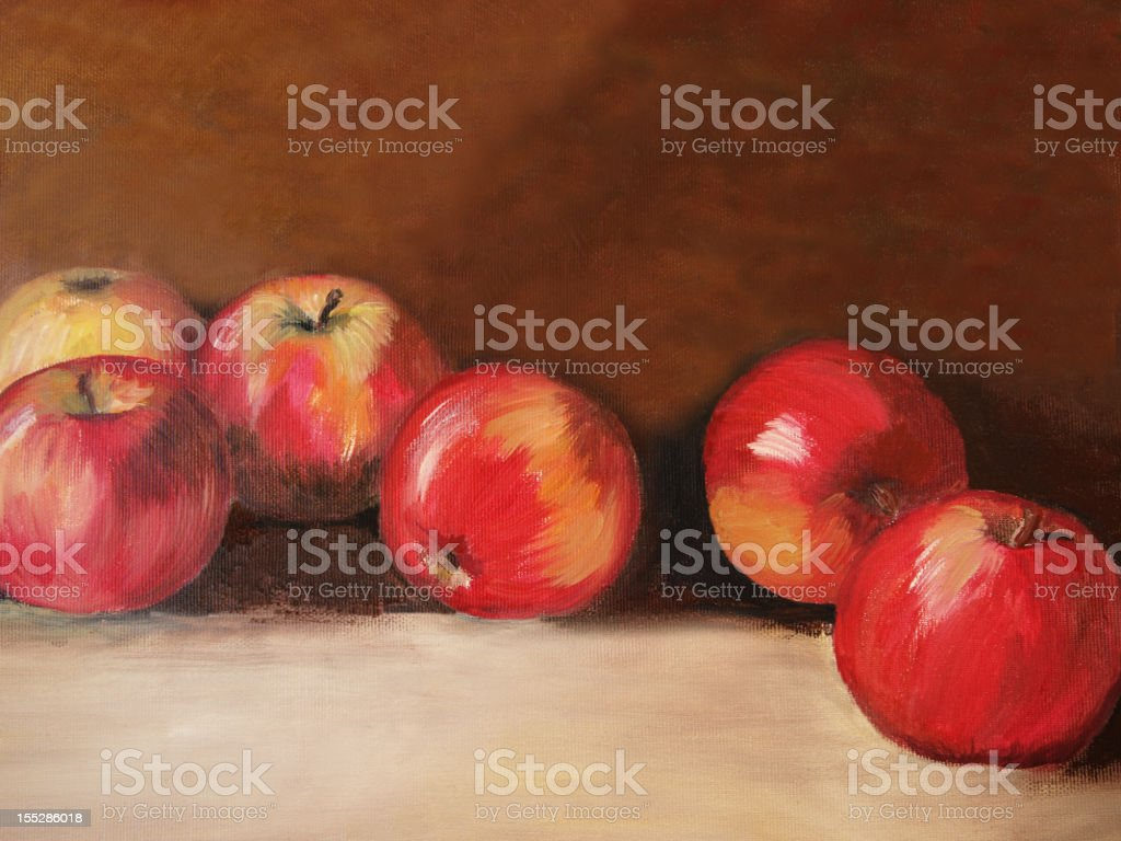 Acrylic painted apples on textured background vector art illustration