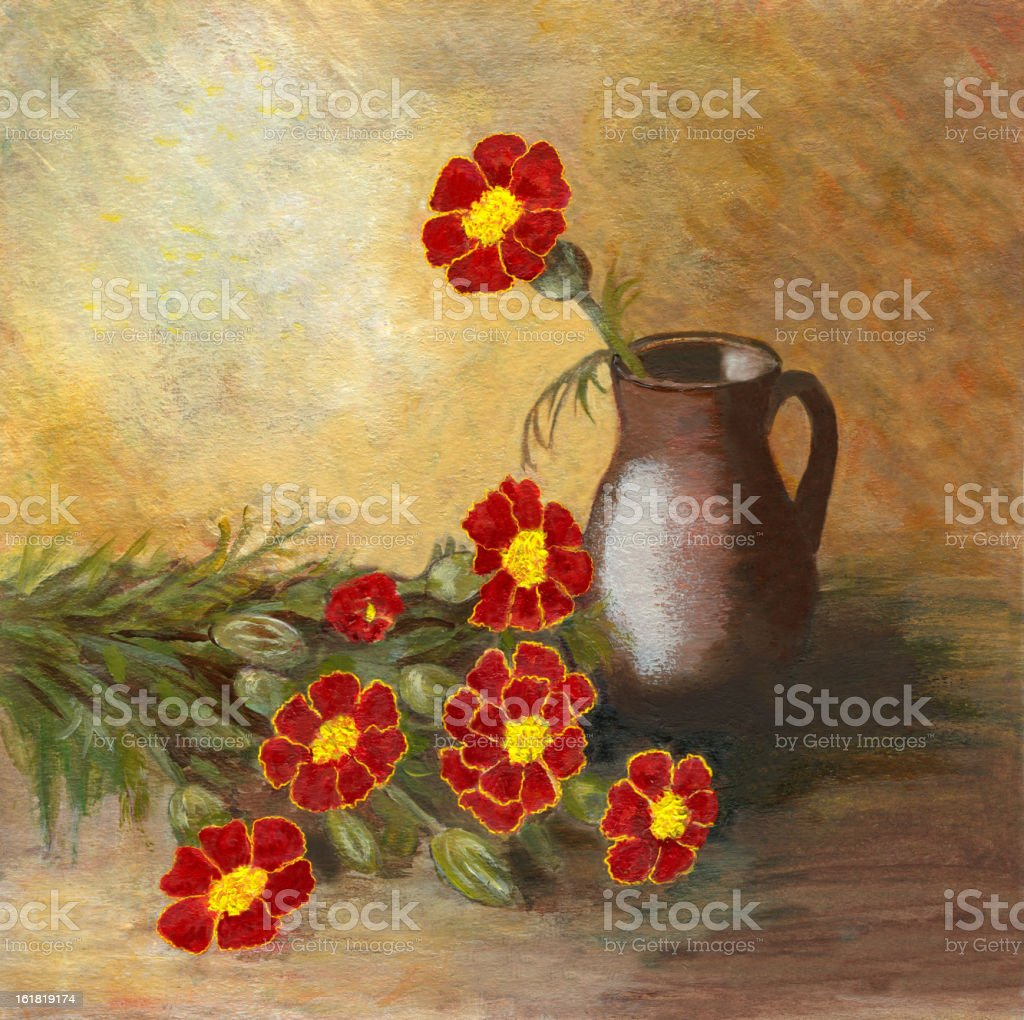 Acrylic painted marigold flowers arrangement with ceramic vase royalty-free stock vector art