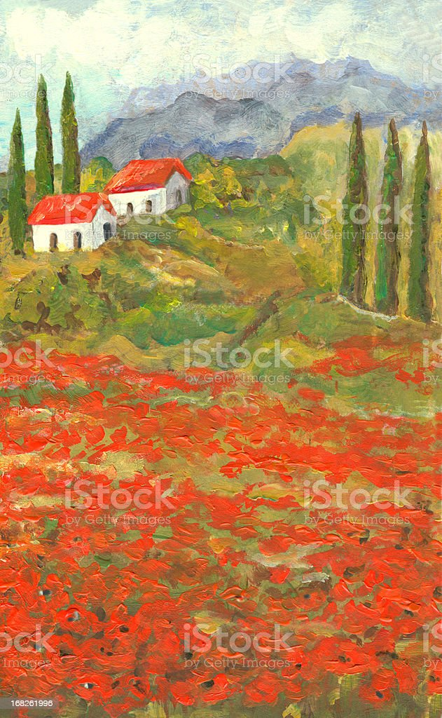 Acrylic painted poppy flowers landscape in Tuscany, Italy vector art illustration