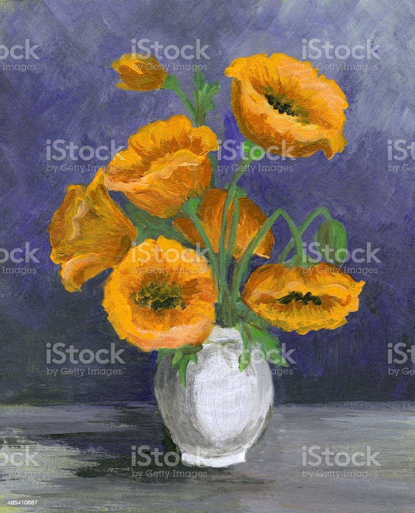 Acrylic painted yellow flowers arrangement vector art illustration