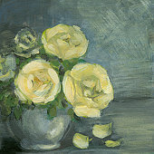 Yellow roses arrangement is my acrylic painted square art product painted on recycled paper.The arrangement is on the left side. Three petals on the right. The greenish-blue textured background offers a good copy space.