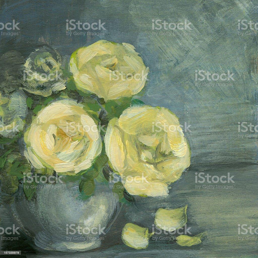 Acrylic painted yellow roses arrangement in ceramic vase vector art illustration