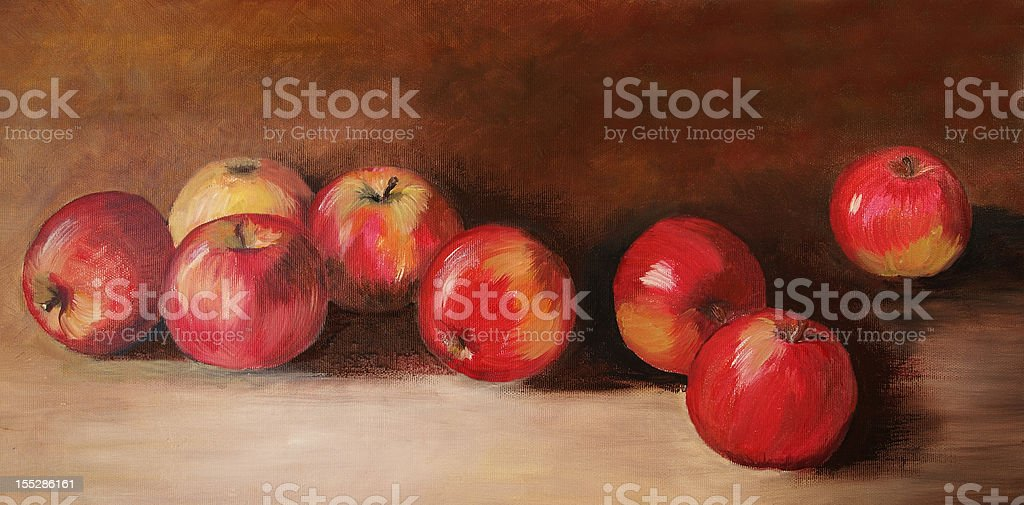 Acrylic painting with eight red apples vector art illustration
