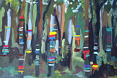 Acrylic sketch colorful tapes in the forest hand-drawn