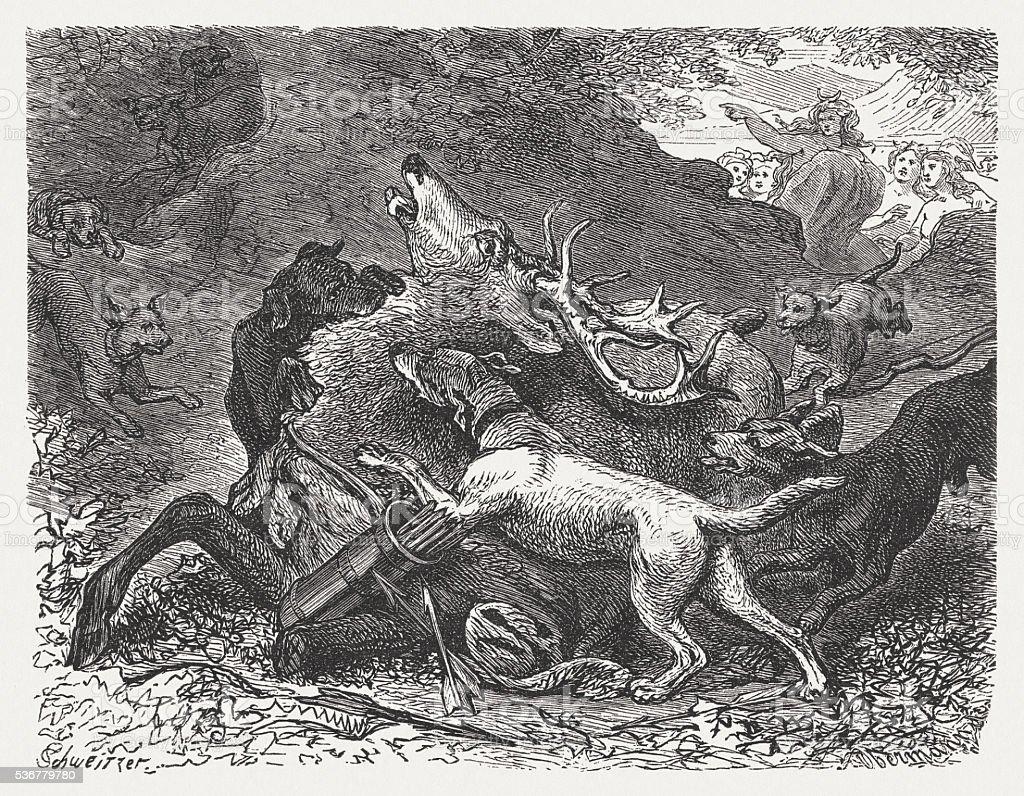 Ilustración de Acteón Rasgado Además Por Su Propio Perros Mitología ...