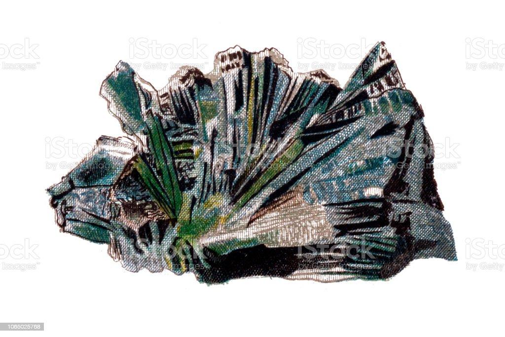 Actinolite is an amphibole silicate mineral vector art illustration