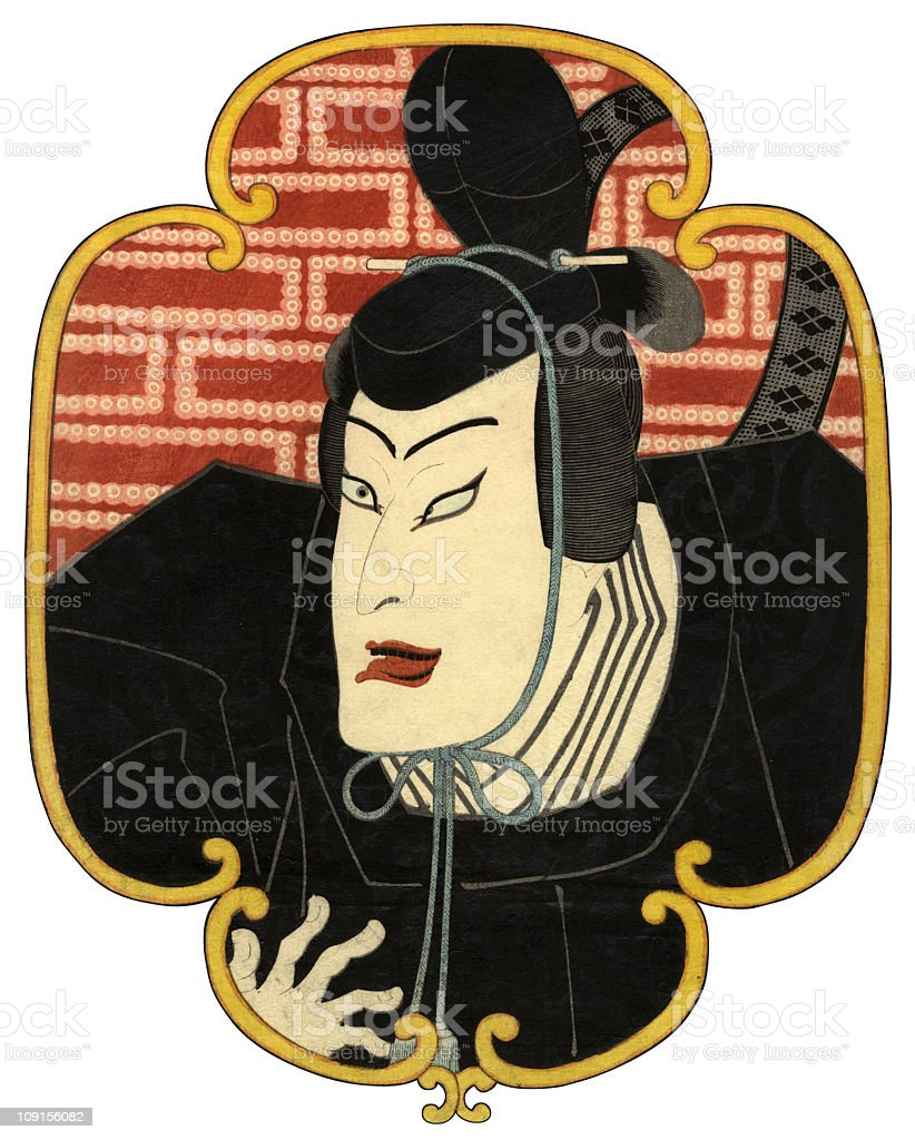 Actors Face Traditional Japanese Woodblock vector art illustration