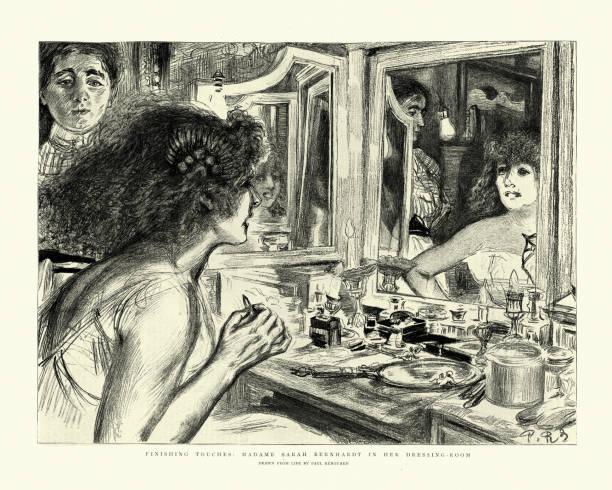 Actress Sarah Bernhardt putting on make up in her dressing-room vector art illustration