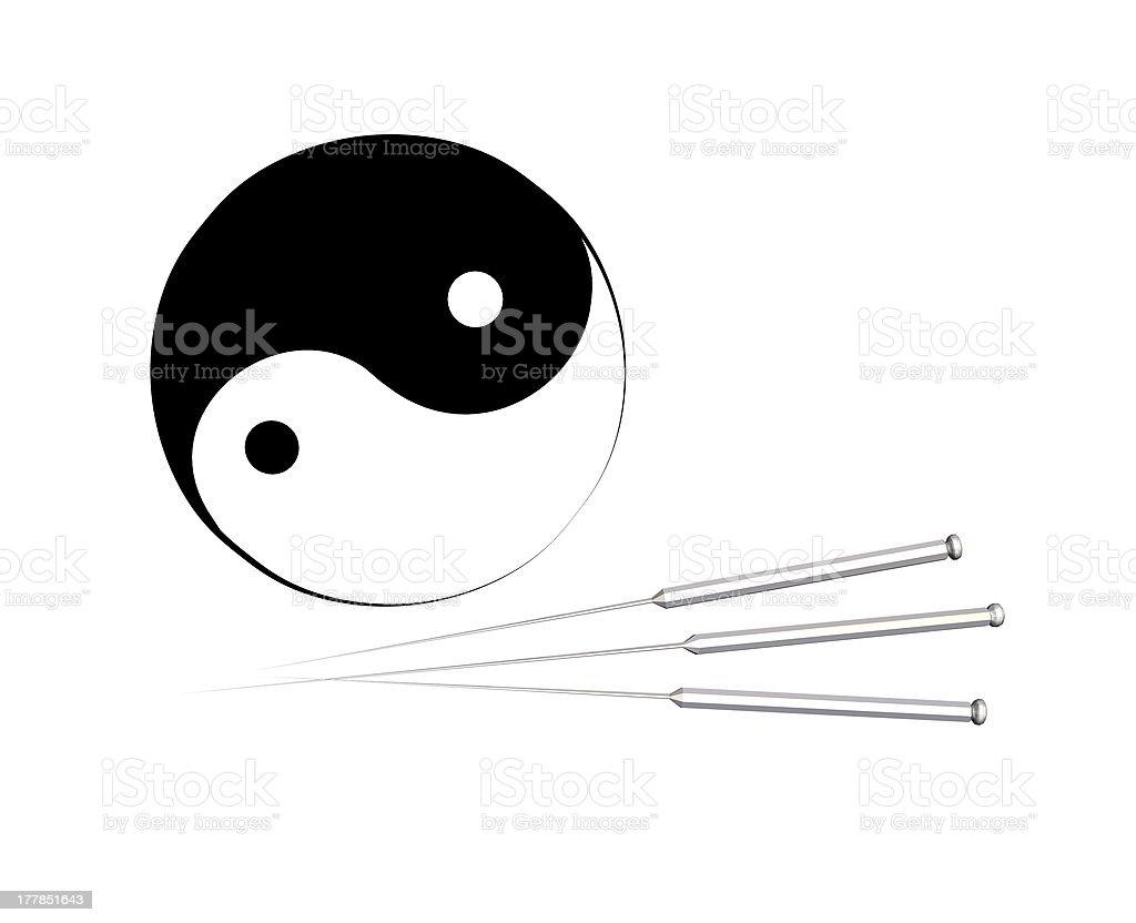 La acupuntura agujas y yin yang señal - ilustración de arte vectorial