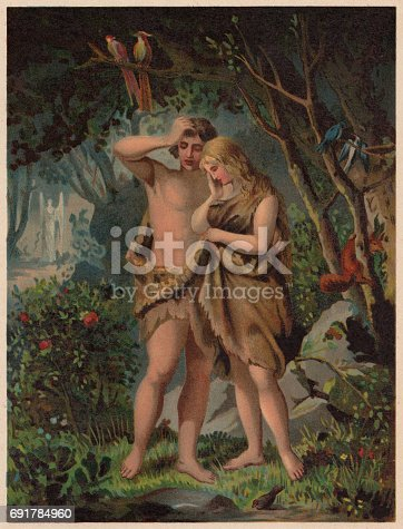 istock Adam and Eve are Driven out of Paradise, published 1886 691784960