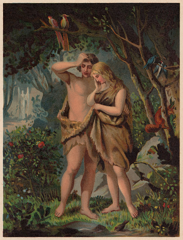 Adam and Eve are Driven out of Paradise (Genesis 3, 21-24). Chromolithograph, published in 1886.