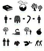 Adam and Eve Book black & white vector icon set
