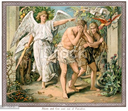 Vintage colour lithograph of Adam and Eve being cast out of Paradise, c.1880